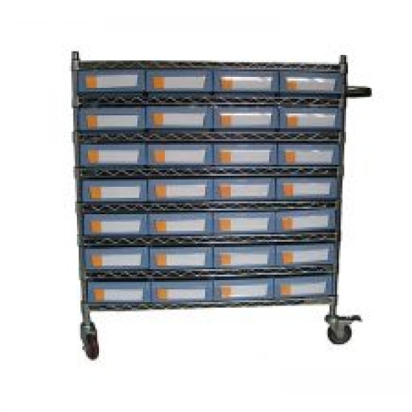 Wire Shelving Trolley With Shelf Bins