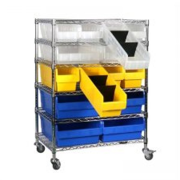 Wire Shelving Trolley With Shelfull Bins