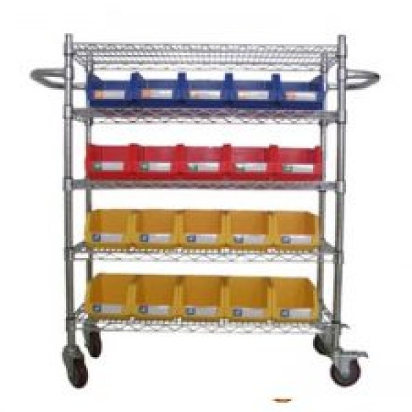 Wire Shelving Trolley With Storage Bins